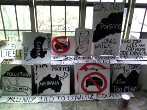 placards painted at my studio for coal port protest