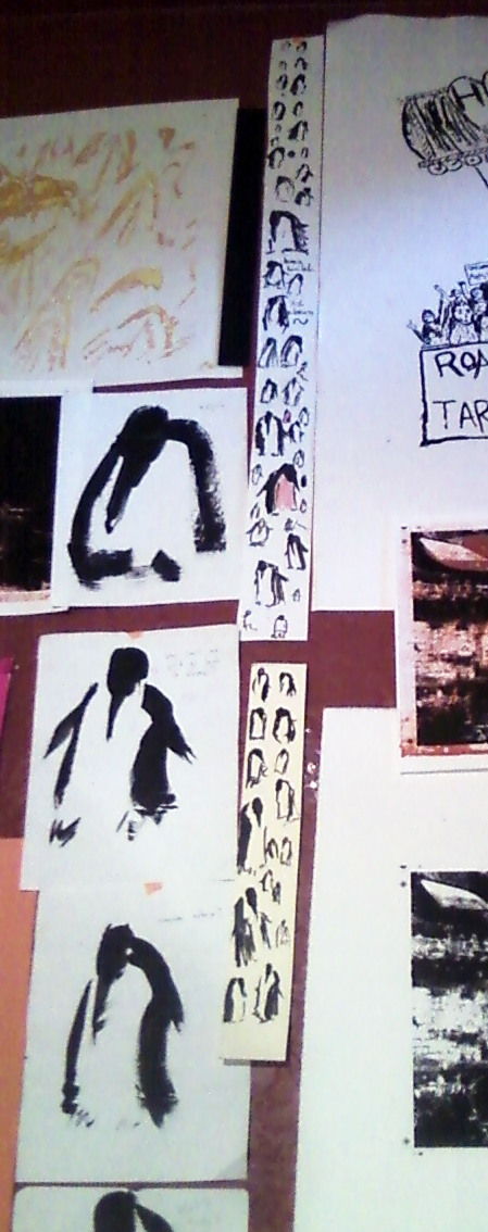 clumps and clots of ink sad penguins